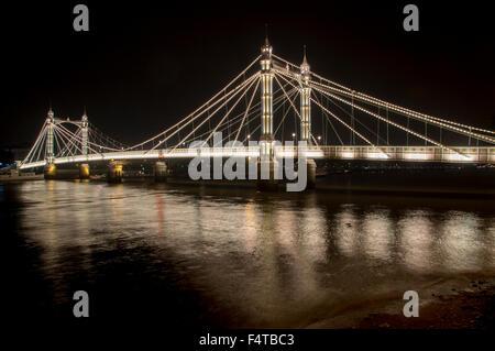 UK, England, London, Albert Bridge night - Stock Photo