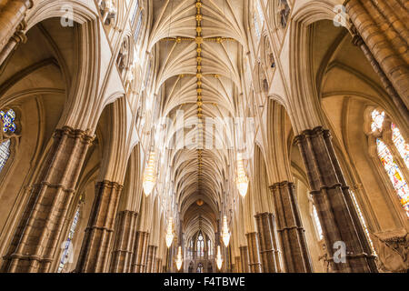 England, London, Westminster Abbey, The Nave - Stock Photo