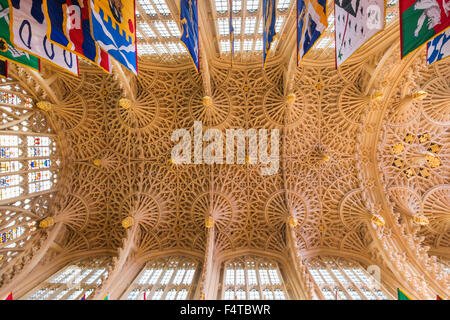 England, London, Westminster Abbey, Ceiling of Henry VII, 's Lady Chapel - Stock Photo