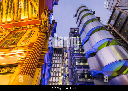 England, London, City, Leadenhall Market and Lloyds Building - Stock Photo