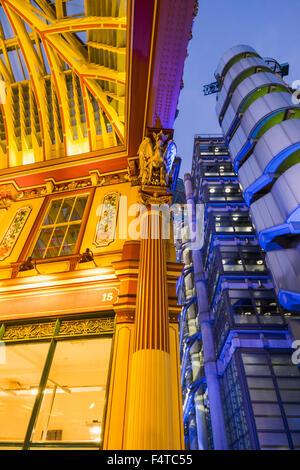 England, London, City, Leadenhall Market and Lloyds Building - Stock Photo