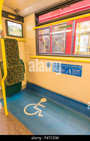 England, London, Disabled Access Area of Double Decker Bus - Stock Photo