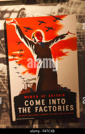 England, London, Lambeth, Imperial War Museum, WWII Poster for Recruitment of Women for Factory Work - Stock Photo
