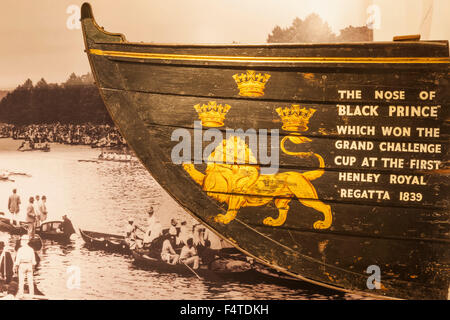 England, Oxfordshire, Henley-on-Thames, River and Rowing Museum, Display of Historical Rowing Boat - Stock Photo