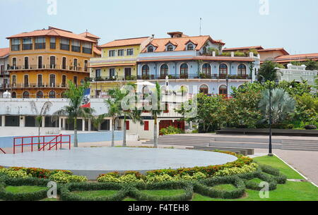 Colorful Spanish colonial houses in the Casco Antiguo viewed from the Plaza Quinto Centenario, Panama City, Panama, - Stock Photo