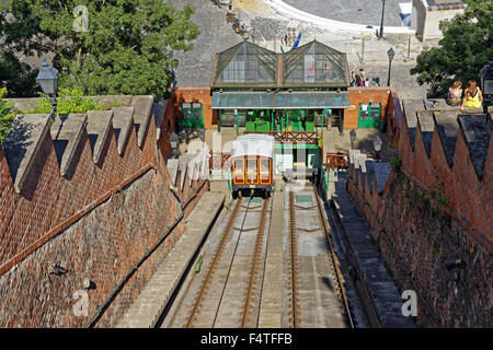 mount Buda, cable railway, valley station, Budavari Siklo - Stock Photo