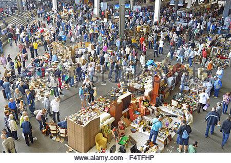 Crowd of shoppers at Mercat del Encants (flea market) in Barcelona Spain Europe - Stock Photo