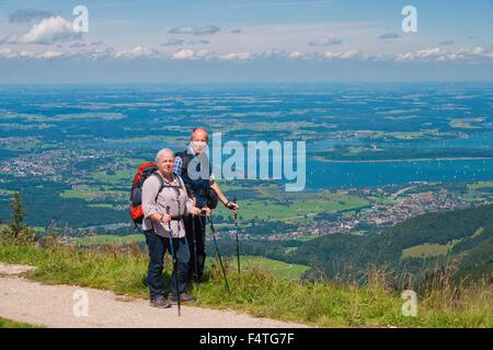 Bavaria, Germany, Upper Bavaria, Chiemgau, Aschau, Kampenwand, Chiemsee, hiking, mountain hiking, panorama, mountain, - Stock Photo