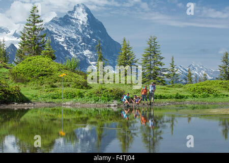 Hiker in mountain lake on Grosse Scheidegg, - Stock Photo
