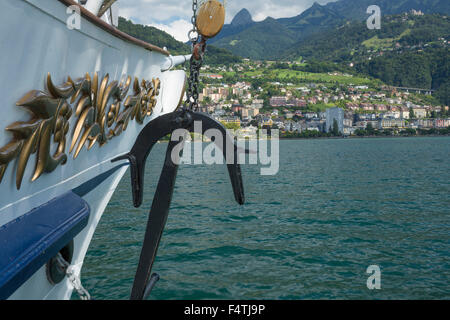 Steamboat on lake Geneva VD near Montreux, - Stock Photo
