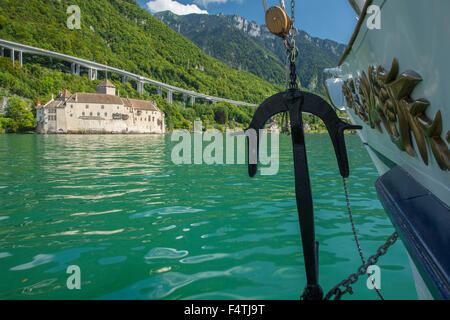 Steamboat on lake Geneva VD near castle Chillon, - Stock Photo