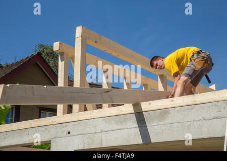 timber-frame construction, wooden building, - Stock Photo