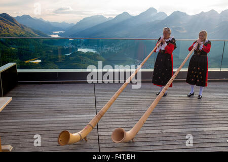 alp horn bubbles on Muottas Muragl in Upper Engadine, - Stock Photo