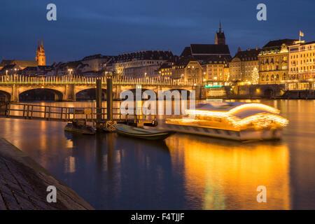 Rhine bridge with Christmas lighting in Basel, - Stock Photo