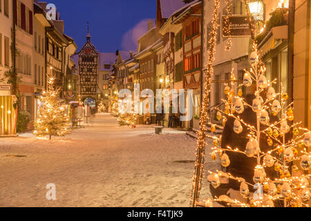 Winter, town, Stein am Rhein, - Stock Photo
