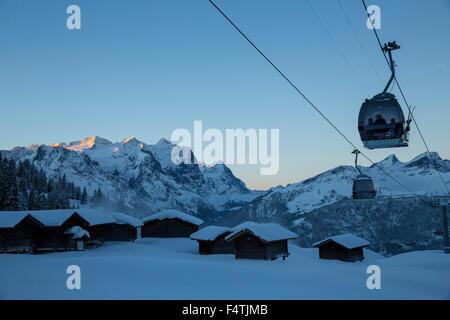 alp huts on Mägisalp in Hasliberg, - Stock Photo