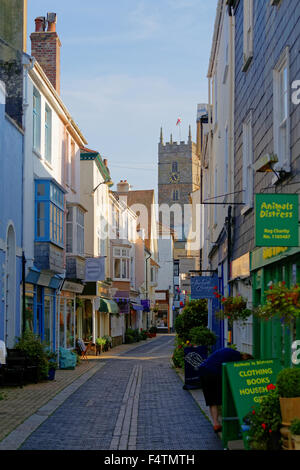 Foss Street in the Town Centre of Dartmouth Devon - Stock Photo