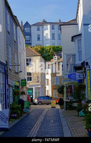 Foss Street in the Town Centre of Dartmouth Devon - Stock Photo