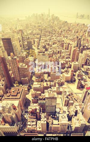 Retro toned aerial view of Manhattan, New York City, USA. - Stock Photo