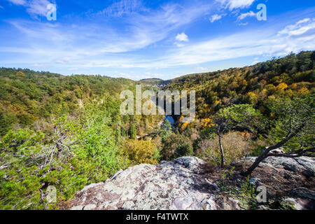 View of Clear Creek from Lilly Bluff Overlook at Obed Wild and Scenic River national park. - Stock Photo