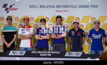 Sepang Circuit, Malaysia. 22nd Oct, 2015. The key riders, Kent, Iannone, Lorenzo, Rossi, Marquez and Vinales before - Stock Photo
