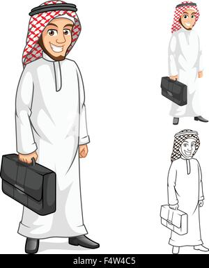 High Quality Middle Eastern Businessman Holding a Briefcase or Bag Cartoon Character  Include Flat Design and Outlined - Stock Photo