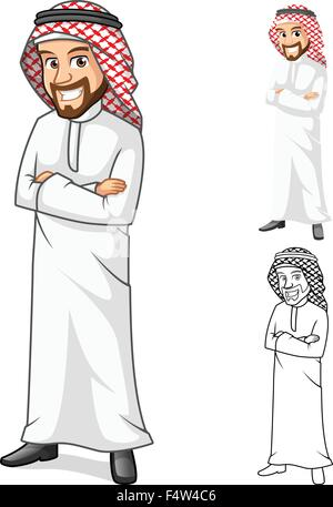 High Quality Middle Eastern Man with Folded Arms Cartoon Character Include Flat Design and Outlined Version Vector - Stock Photo
