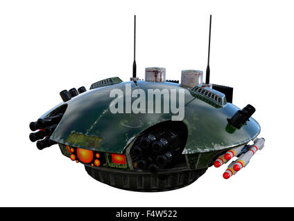 3D digital render of a sci-fi drone isolated on white background - Stock Photo