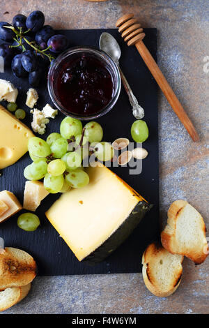 fresh grapes and cheese, top view - Stock Photo