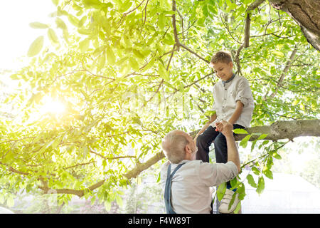 Grandfather helping grandson on tree branch - Stock Photo