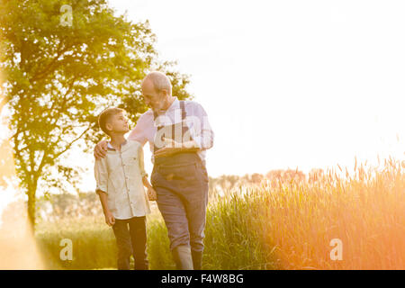 Grandfather farmer talking to grandson in sunny rural wheat field - Stock Photo
