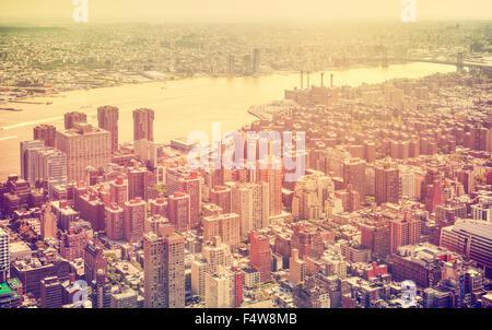 Retro toned aerial view of New York City, USA. - Stock Photo
