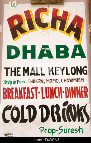 India, Himachal Pradesh, Lahaul and Spiti, Keylong Bazaar, Richer Dhaba sign outside small café - Stock Photo