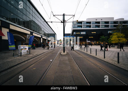 Tram tracks at Alexanderplatz, in Mitte, Berlin, Germany.