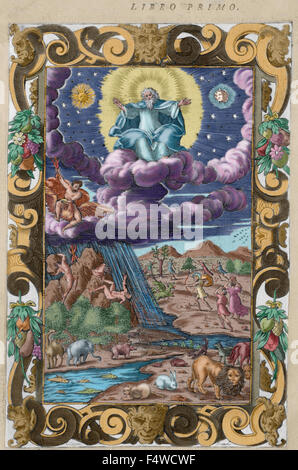 Ovid (Publius Ovidius Naso) (43 BC-17 AD). Latin poet. Metamorphoses 2-8 AD. Book I. Engraving depicting The Creation, The Battle of the Giants, Decaulion and Pyrrha and Apollo and the serpent. Italian edition. Venice, 1584. Colored. Stock Photo