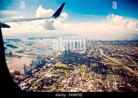 USA, Florida, Miami, View of cityscape from airplane - Stock Photo