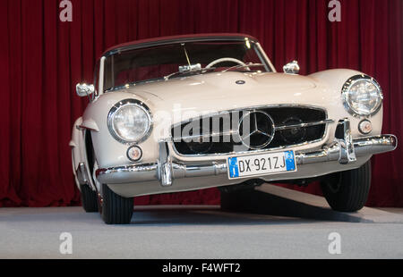 Classic Mercedes Benz car at  at the International Exhibition of vintage motoring in Europe, Padova Italy - Stock Photo