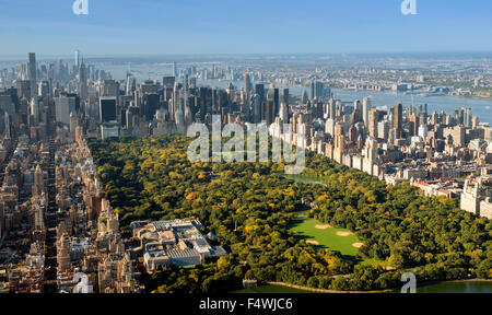 Aerial shot of Manhattan and Central Park from the Upper West Side East Harlem, New York USA - Stock Photo