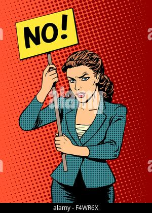 businesswoman policy protest with a poster no - Stock Photo
