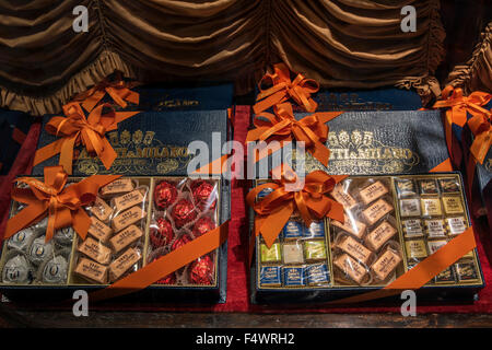 Chocolate gift boxes on sale at Caffe Baratti & Milano chocolate and coffee shop, Turin, Piedmont, Italy - Stock Photo