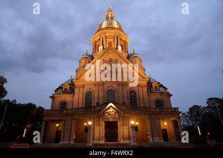 Christus church at dusk, Mannheim, Baden-Württemberg, Germany, Europe - Stock Photo