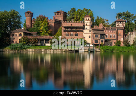 Borgo Medievale fortress and Po River, Turin, Piedmont, Italy - Stock Photo