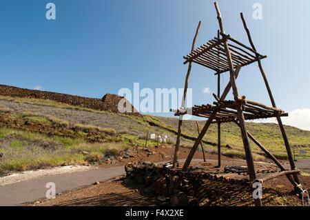 A wooden structure at Puukohola Heiau National Historic Site, South Kohala Coast, Big Island, Hawaii, USA