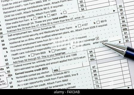 Us Income Tax Form 1040 Stock Photo 7395503 Alamy