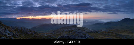 Sunrise from summit of Pike O'Blisco Lake District UK - Stock Photo