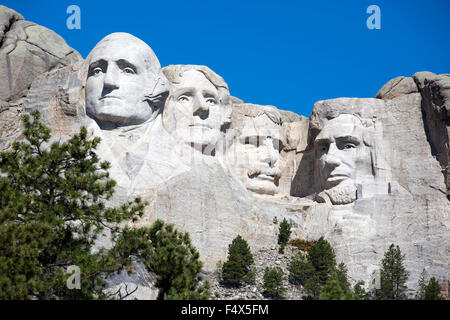 Mt. Rushmore National Memorial is located in southwestern South Dakota, USA. - Stock Photo