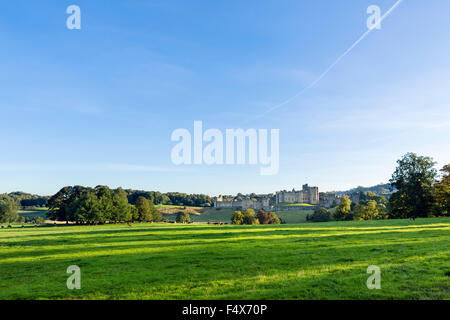 Alnwick Castle in the late afternoon autumn sunshine, Alnwick, Northumberland, England, UK - Stock Photo