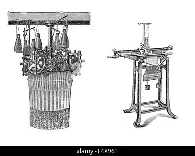 Engravings of knitting machines. Knitted fabrics are more flexible from woven fabric, can be more readily constructed - Stock Photo