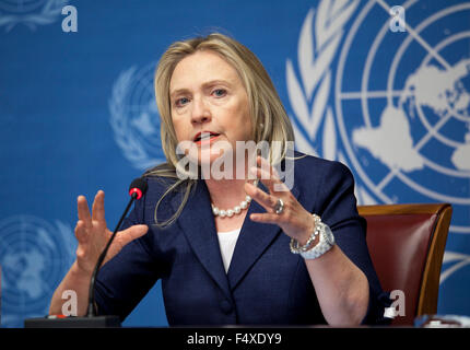 U.S. Secretary of State Hillary Rodham Clinton holds a press conference following the meeting of the Action Group - Stock Photo