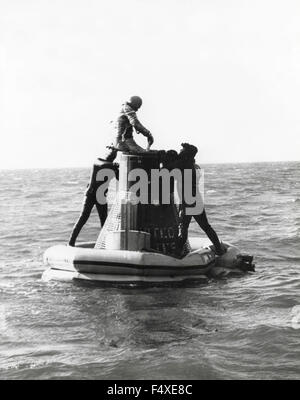 The American astronaut Alan Shepard is assisted as he leaves the ship, USA - Stock Photo